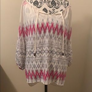 Blouse with pink and black tribal print